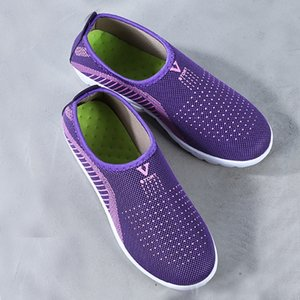 Femmes Mesh plat avec rayures marche Casual coton Chaussures Mocassins Chaussures souples respirant Confort Printemps Eté dames Chaussures T9 #