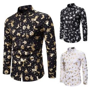 Mens Блестящая золотая фольга печати рубашки Slim Fit с длинным рукавом рубашки платья Halloween Party Prom Рубашка мужская Костюмы