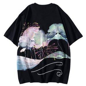 2020 style chinois Streetwear T-shirt Hip Hop Hommes Harajuku T-shirt Feuille de Lotus Imprimer été à manches courtes T-shirt en coton T-shirts Tops