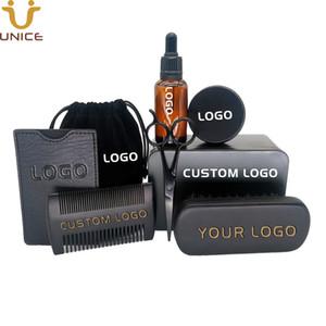 MOQ100pcs Özel Metal Kutu Çanta PU Durumunda LOGO 8 1 Siyah Sakal Setleri Ahşap Saç Combs Sakal Fırçası Yağı Mum Makas içinde