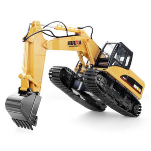 HuiNa Toys 15 Channel 2.4 G 1/14 RC Excavator Charging RC Car With Battery RC Allo Excavator RTR For kids Construction Vehicles Y200413