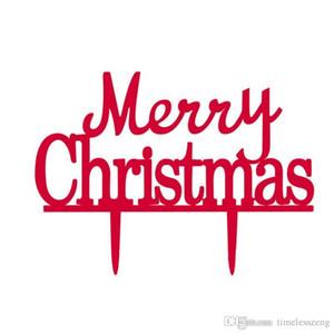 pastel de acrílico Feliz Navidad Topper Europa y EE.UU. vendedora caliente de color rojo pastel de Navidad tarjeta insertada parte decoración elegante