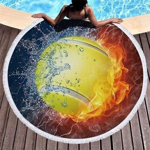 2019 Нового прибытия пожарной футбол лето круглого пляж для купания Полотенце с кисточкой 450г Мягкой Абсорбент микрофибры 150см Одеялом