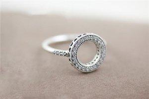 NEUE Frauen 18K Rose Gold CZ-Diamant-Halo-Ring-Satz Original-Box für Pandora reale 925 silberne Art und Weise Luxuxhochzeitsgeschenk-Ring
