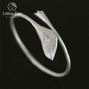 Lotus Fun réel Argent 925 original Designer main Fine Jewelry ethnique Lotus Calla Bracelet pour femmes Bijoux CX200623