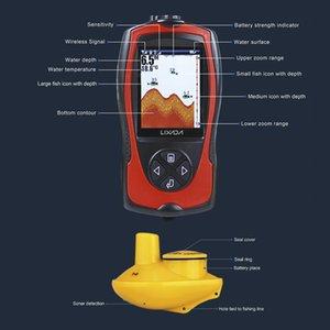 Lixada Portable 2-in-1 Ricaricabile LCD da 2,4 pollici Allarme 100 M Portatile Sonar LCD Fish Finders Pesca lu ICE / Oceano / Allarme barca Fish Finder Sonar