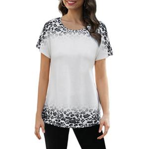 Neue Art und Weise Frauen-T-Shirt Leopard-Steigung-Farben T-Shirt Kurzarm Sumer Beiläufiges T