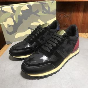 Hommes de qualité supérieure en cuir clouté en cuir Rock Runner chaussures camouflage baskets cloutés Rockrunner baskets occasionnels chaussures de marche baskets
