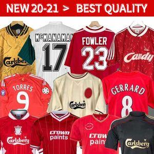 04 05 Retro maglia da calcio Gerrard 1982 FOWLER Dalglish 10 11 Football Shirts Torres 1989 Maillot 85 86 Kuyt 08 09 SUAREZ 1995 93 McManaman