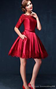 꽤 긴 소매 빨간색 짧은 이브닝 이브닝 드레스 새틴 아플리케 공식 이브닝 가운 댄스 파티 드레스 동성애 드레스 새로운 칵테일 드레스