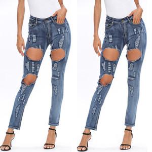 Женского Hole Vintage Blue Jeans женщина лето высокая талия свет мытой брюки карандаш Женщина моды Тонкая Брюки
