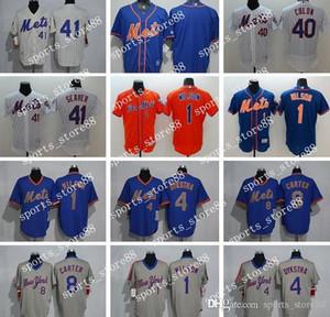 Homens Mulheres Juventude NY Mets Jersey # 1 Mookie Wilson 4 Dykstra 8 Gary Carter 40 Bartolo Colon 41 Tom Seaver Baseball Jerseys