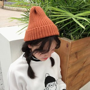 Hat Female Chic Autumn and Winter Solid Color All-match Knitted Hat Thickened Light Plate Pointed Wool Hat Warm Pullover Male