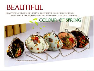 Sıcak satış Vintage çiçek tuval sikke çanta Güzel mini kadınlar ve kızlar hediyeler küçük çanta çile küçük coni ile ayrılabilir zinciri promosyon