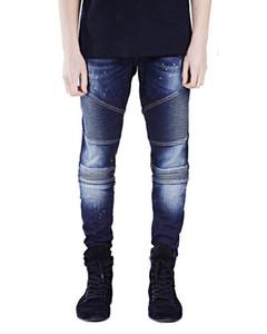 Erkek Tasarımcı Biker Jeans Moda Kişilik Hayta Fermuar Kasetli Mens Biker Jeans Casual Erkek Giyim yazdır şerit