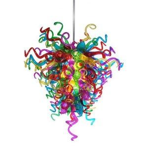 Art Glass American Pride Lustre en verre Lustre fait main soufflée multi couleur cristal moderne Chambre Chandelier Light-L Décor