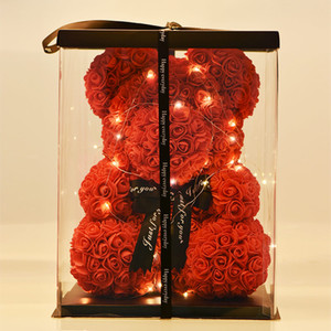 여성 발렌타인 데이를위한 LED 선물 상자 테디 베어 로즈 비누 거품 꽃 인공 새해 선물로 장미의 Dropshiping 40cm 곰