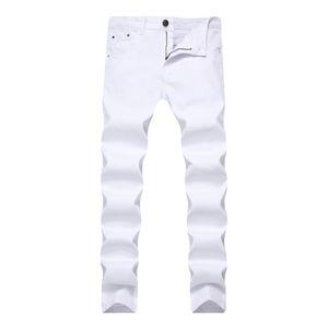 Herren Jeans Stretch Dünne dünne dünne Farbe Denim Chino Pants Für Männer Casual Jeans Hosen Männer Schweiß Kleidung Khaki Schwarz Rot Weiß