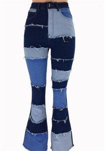Flare джинсы мытый Манжеты Дизайнер джинсы высокой талией вскользь Лоскутная цвета джинсы женские Одежда женская Щитовые Micro