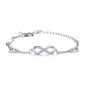 Infinity diamantes pulsera de la hoja de los latidos del corazón se elevó pulseras ajustables y jalar las mujeres brazalete de las pulseras nuevo regalo de boda joyería de compromiso