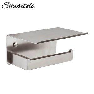 Smesiteli High Quality Toilet Paper Holder SUS304 Stainless Steel Bathroom Holder Storage Shelf Brushed Nickel Finish T200425