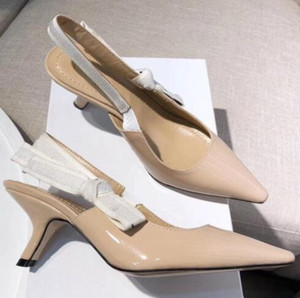 Verano moda coma talón Sling bomba de espalda Bow Letter Vendaje zapatos de tacón plano mujer Runway Punta estrecha Sandalias de gladiador size35-41 # 15