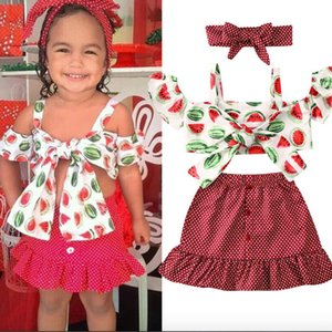 1-6Y Summer Girls Clothing Sets Baby Kids Clothes Suit Children watermelon suspender top+polka dot skirt suit 3Pcs girl clothing