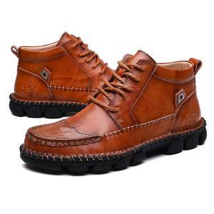 2019 새로운 전체 판매 가을과 겨울 높은 남성 가죽면 신발 검은 갈색 겨울 킵 따뜻한면 부츠 크기 40-47