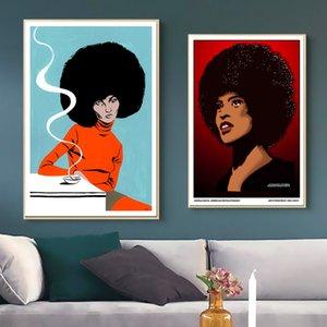 Pop Black Panther Líder Do Partido Angela Davis Pintura Da Lona Fotos Do Vintage Kraft Cartazes Revestidos Adesivos De Parede Decoração Da Sua Casa presente