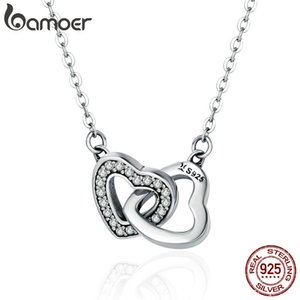 BAMOER Valentine Day Gift 925 Sterling Silver Connected Heart Couple Heart Pendant Necklace for Girlfriend Silver Jewelry SCN181