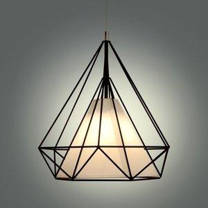 lustres birdcage escandinava moderna minimalista da arte pirâmide de ferro lustre restaurante criativo luzes pingente cabo preto branco