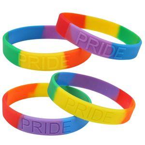Arcobaleno braccialetti del silicone di colore dell'arcobaleno del silicone Wristband LGBT Orgoglio gomma Bracciali Gay Pride Arcobaleno gioielli Wristband