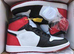 Nouveau 1 satin chaussures Casual Hommes Chicago en rouge Toe Noir 1S OG chausse des espadrilles bleu blanc formateurs de première classe de vol Chaussures de sport