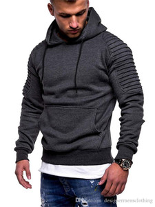 Plus Size Fold Mens Hoodies Spring Autumn Thick Sports Mens Sweatshirts Fitness Pullover Slim Male Clothing