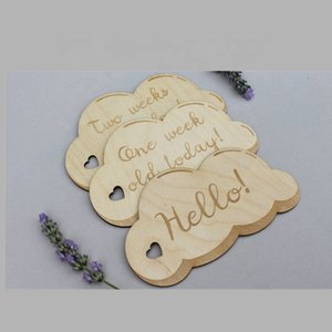 10pcs Wooden Baby Month Milestone Card Newborn Birth Month Birthday Milestone Wooden Teether Baby Kids Photography Props Toy