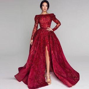 Плюс размер арабский Бургундия вечерние платья 2019 длинные рукава аппликации из бисера фронт Сплит длинные платья партии Пром Vestidos BC0652