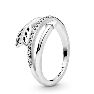 Real 925 Sterling Silver Wrap Around Arrow Ring with Logo and Pandora Original Gift Box Cubic Zirconia Diamond Wedding Rings sets for Women