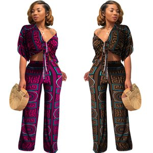Mulheres Moda do Summer Long Macacões manta Print Designer Enrole Jumpsuit Metade Batwing Dolman Sleeve Bow Bandage solto Macacão Vermelho