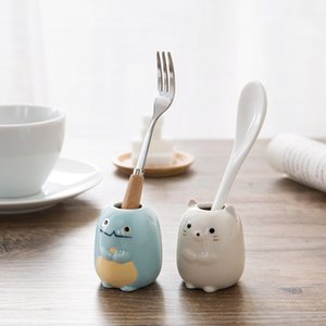 Ceramic Cartoon Animal Toothbrush Holder Bathroom Stand Toothbrushes Sundries Storage Container Tableware Organizer Rack