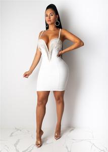 Progettista delle donne Bodycon abiti sexy del V-Collo senza maniche Tassel dalla cinghia di spaghetti vestiti casuali di colore solido Slim