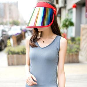 Kadınlar Yaz Boş Üst Güneşlik Şapka Gökkuşağı Plastik Paneli UV Koruma Ayarlanabilir Açı Geniş Geniş Brim Motosiklet Plaj Cap