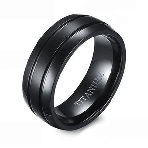 8MM بوسيك رجل خطوط مزدوجة التيتانيوم الصلب خاتم الزواج خاتم الراحة الانتهاء من الراحة
