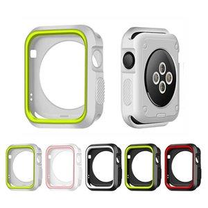 Color múltiple ultra delgado de la cubierta completa para Apple Serie Watch 4 3 2 1 40 mm 44 mm 38 mm 42 mm Caso de TPU de silicona suave protector de la pantalla a prueba de golpes