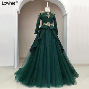 Arabisch Dark Green A-Linie Abendkleider Vintage-High Neck Muslim Lange Sleeevs Abendkleid plus Größe Kaftan formalen Partei-Abendkleid