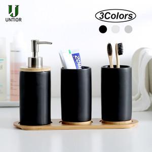 UNTIOR 3adet Seramik Banyo Aksesuarları Seti Moda Sabunluk Diş Fırçası Tutucu Tumbler Seramik Ev Banyo Ürün