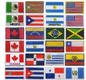 Amerika Ülke Bayrakları Meksika Porto Riko Arjantin Amerika Birleşik Devletleri Kanada Brezilya El Salvador İşlemeli Yamalar Rozetleri Toptan