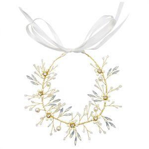 Oro Fascia nuziale strass copricapo da sposa floreale della vite dei capelli per la sposa Birdal Accessori per capelli