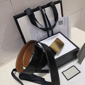 2020 Hot neue schwarze qualitativ hochwertige Mode Gürtel Goldschnalle Männer und Frauen Gürtel + Gurtkasten