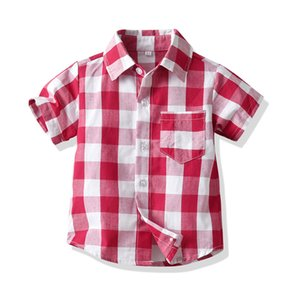 BOY'S Korean-style One-piece Shirt Short Sleeve Air Conditioning Clothes Coat Plaid Fold-down Collar Multi-color Tops