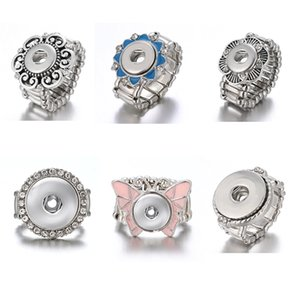 Fashion Vintage Noosa Snap Button Rings Elastic Rope Adjustable 12mm 18mm Chunks Ginger Snap Button Finger Ring for Women Men Jewelry
